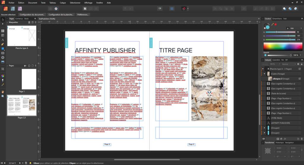 Capture d'écran Affinity Publisher édition de texte