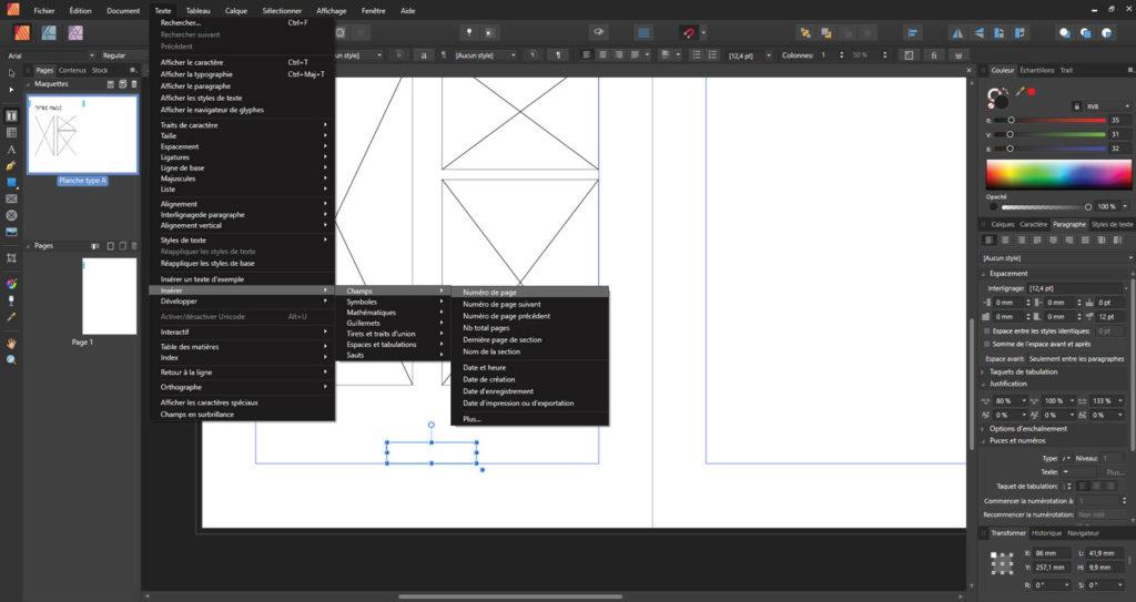 Capture d'écran Affinity Publisher pour la gestion des maquettes