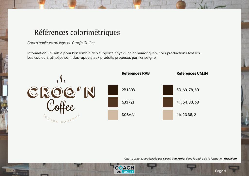 Références colorimétriques du logo du Croq'n Coffee.