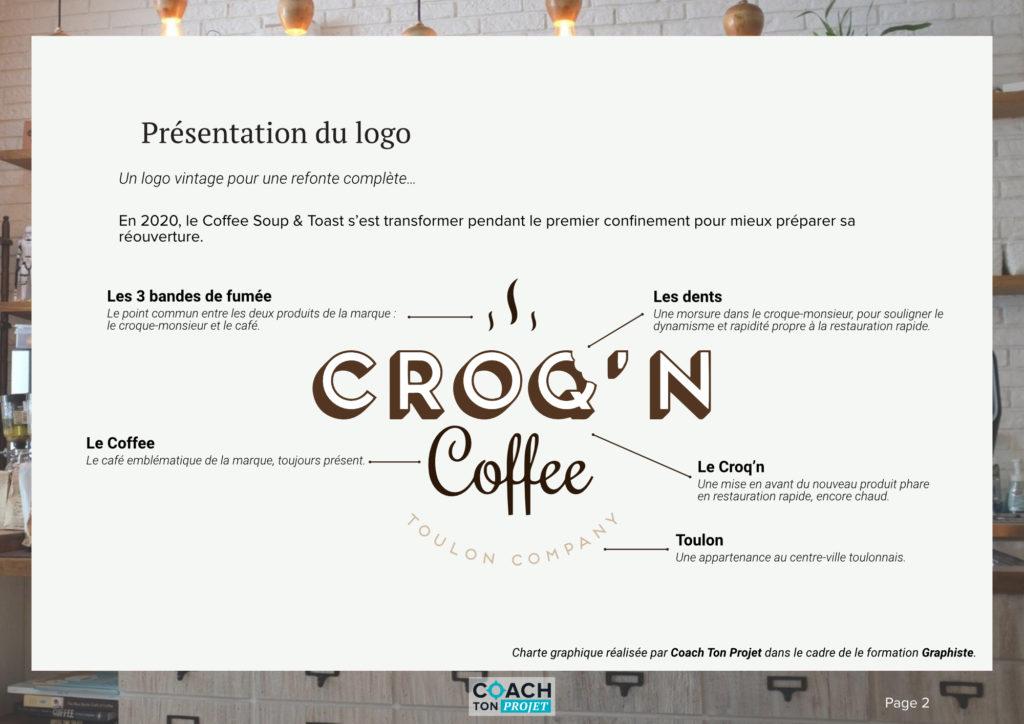 Présentation et détails du logo du Croq'n Coffee