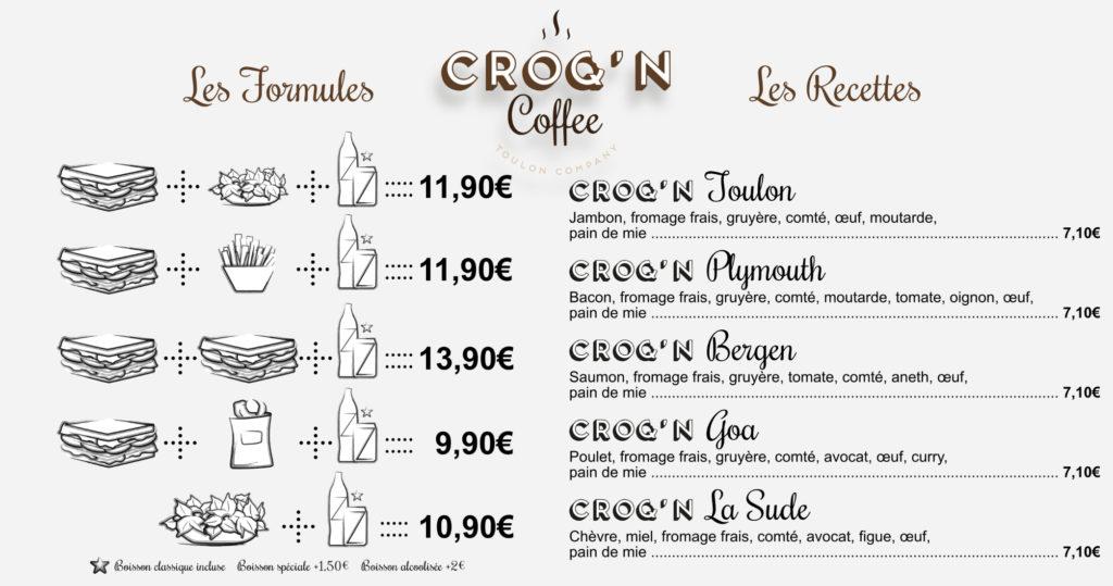 Carte formules et recettes du Croq'n Coffee.